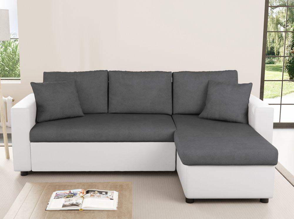 canap d 39 angle r versible bi mati re blanc et gris hudson. Black Bedroom Furniture Sets. Home Design Ideas