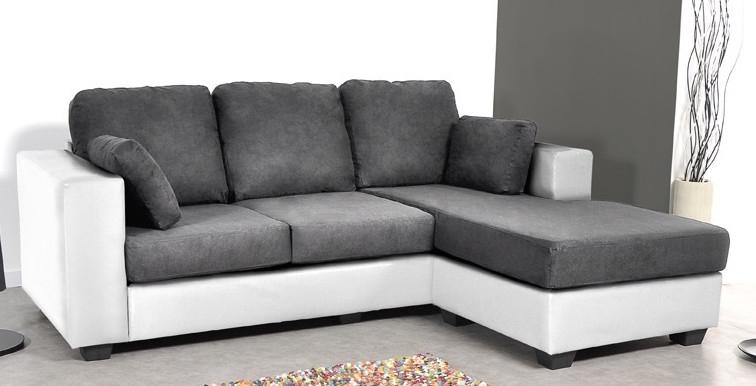 Canapé d angle réversible bi mati¨re Blanc Gris Hudson