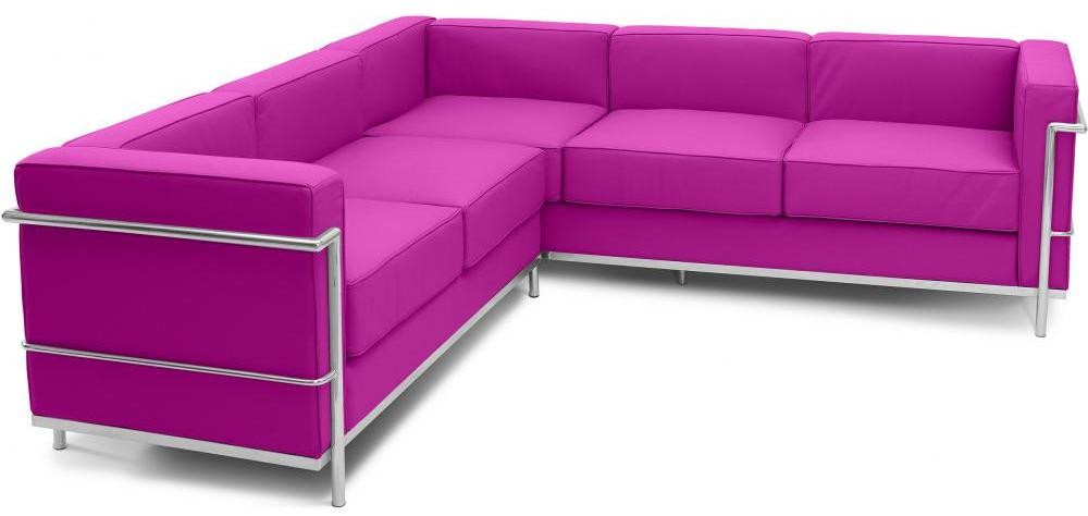 canap d 39 angle simili fuchsia inspir lc2 le corbusier. Black Bedroom Furniture Sets. Home Design Ideas