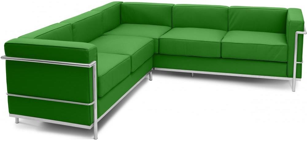 canap d 39 angle simili vert fonc inspir lc2 le corbusier. Black Bedroom Furniture Sets. Home Design Ideas