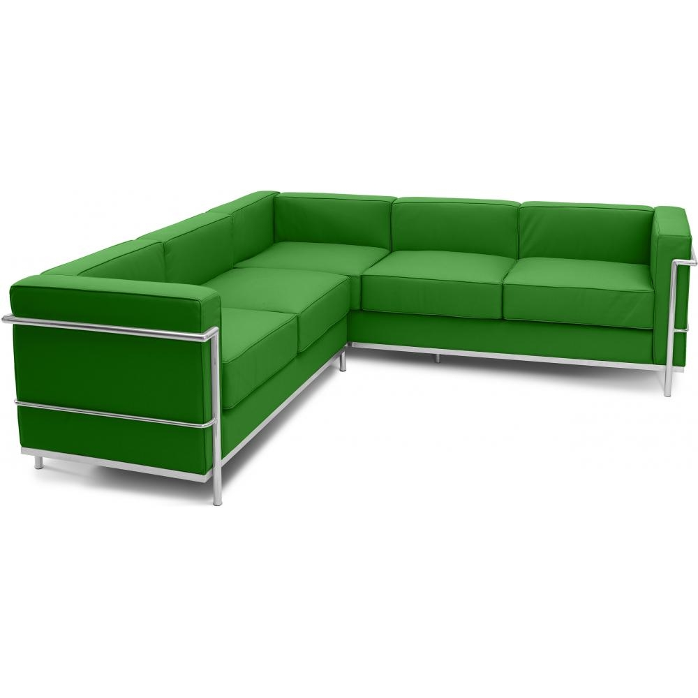 canap d 39 angle simili vert inspir lc2 le corbusier. Black Bedroom Furniture Sets. Home Design Ideas