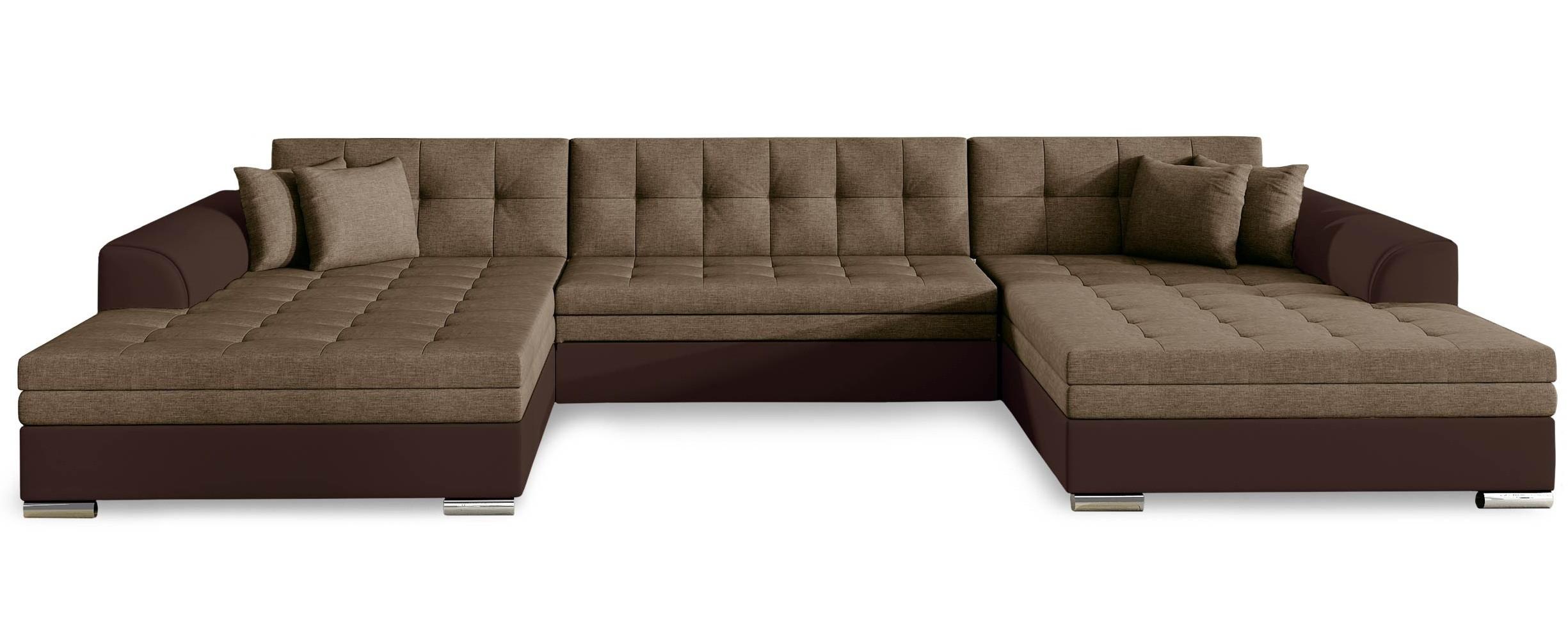 Canapé d'angle panoramique convertible simili cuir et ...