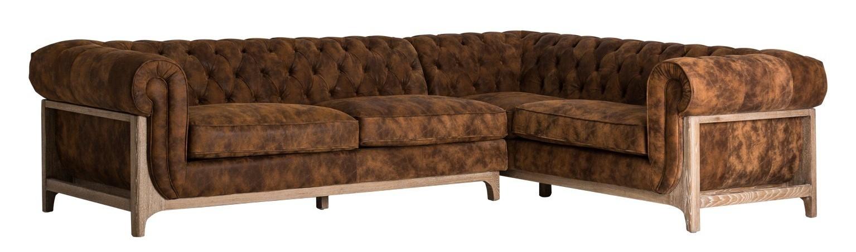 Canap d 39 angle vintage cuir marron drys - Canape d angle vintage ...