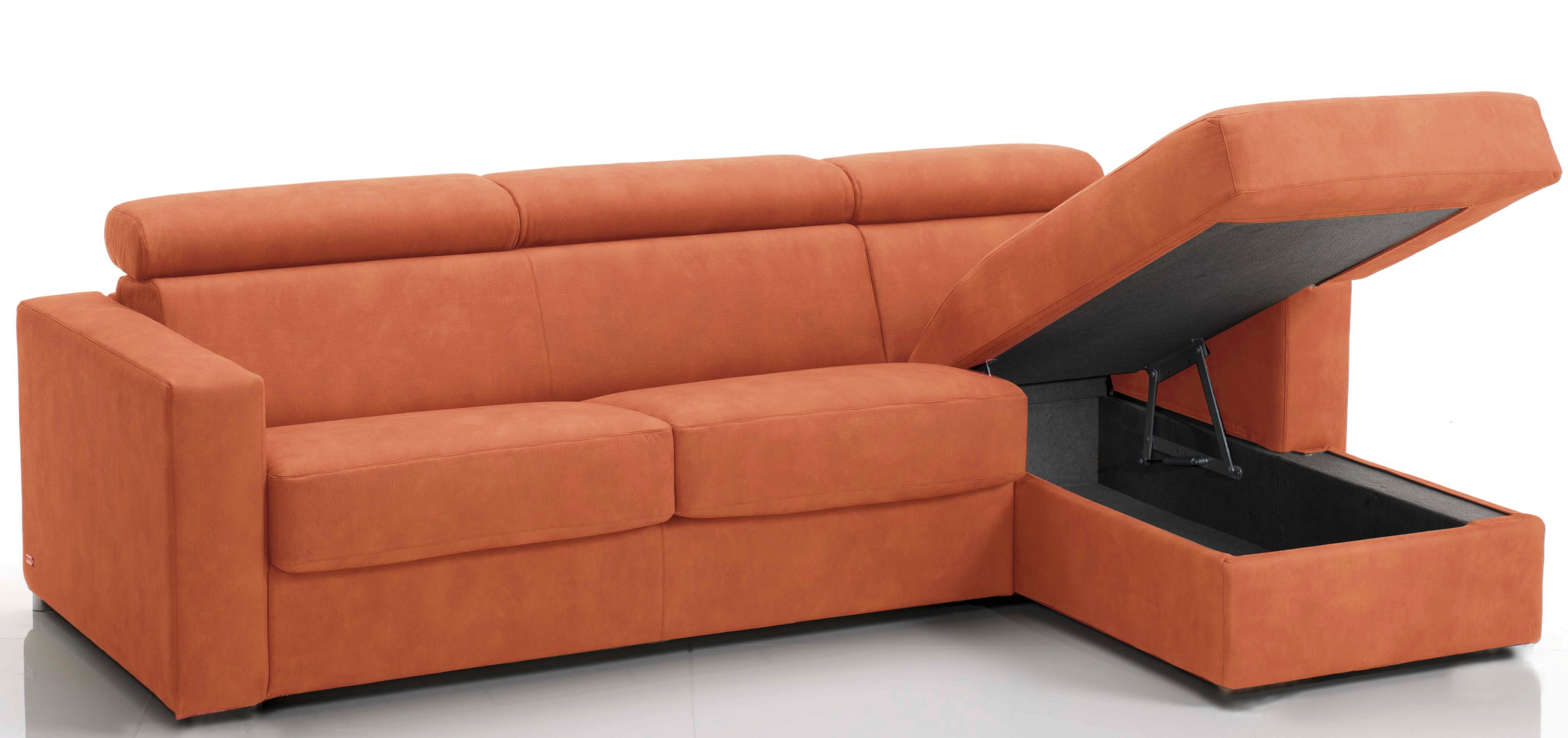 canap d 39 angle convertible avec t ti res rev tement microfibre orange lova mod le 3 places maxi. Black Bedroom Furniture Sets. Home Design Ideas