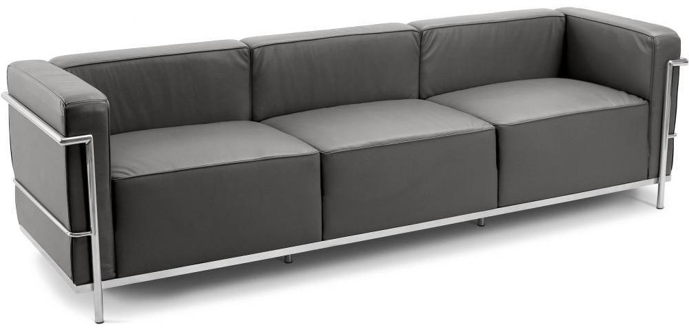 canap design 3 places simili gris fonc inspir lc3 le corbustier. Black Bedroom Furniture Sets. Home Design Ideas