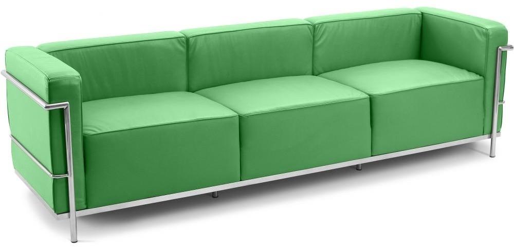 canap design 3 places simili vert clair inspir lc3 le corbustier. Black Bedroom Furniture Sets. Home Design Ideas