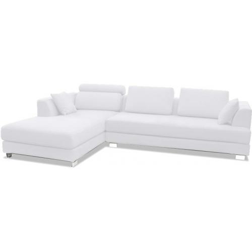 canap design angle gauche tissu blanc lonval. Black Bedroom Furniture Sets. Home Design Ideas