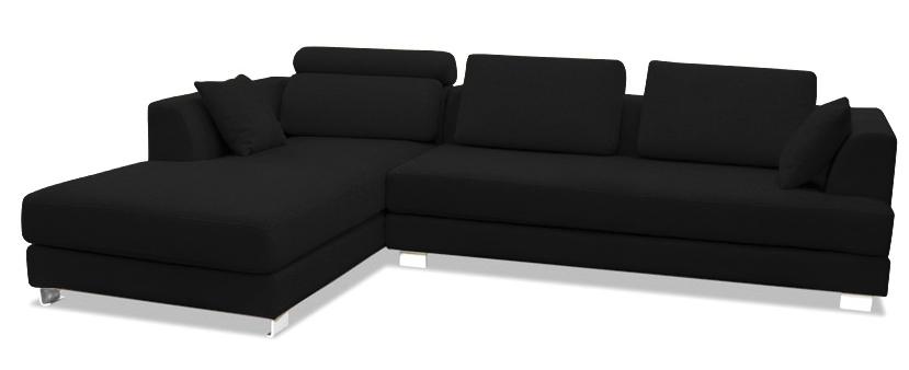 canap design angle gauche tissu lin noir inspir boretti. Black Bedroom Furniture Sets. Home Design Ideas