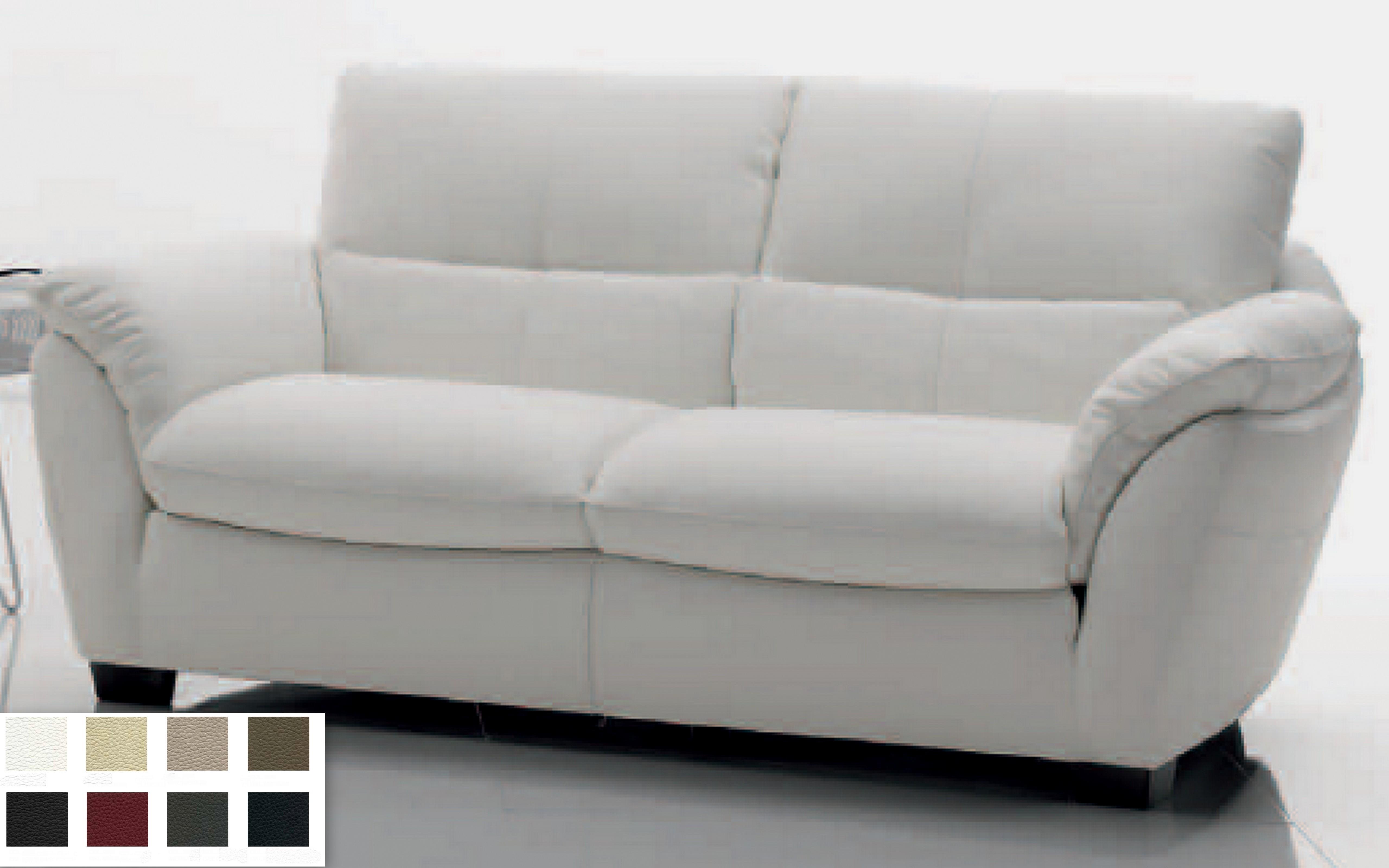 Canap en cuir malou mod le canap 2 places couleur blanc - Canape cuir 2 couleurs ...