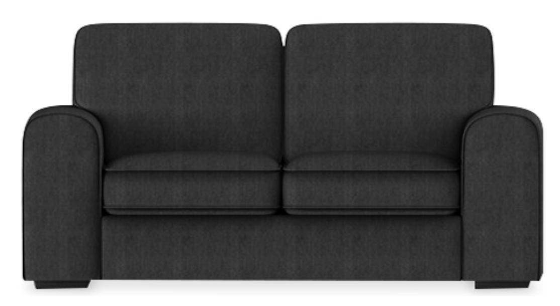 canap haut dossier 2 places tissu lin noir kun. Black Bedroom Furniture Sets. Home Design Ideas