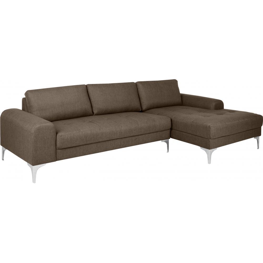 canap italien angle droit tissu lin marron. Black Bedroom Furniture Sets. Home Design Ideas
