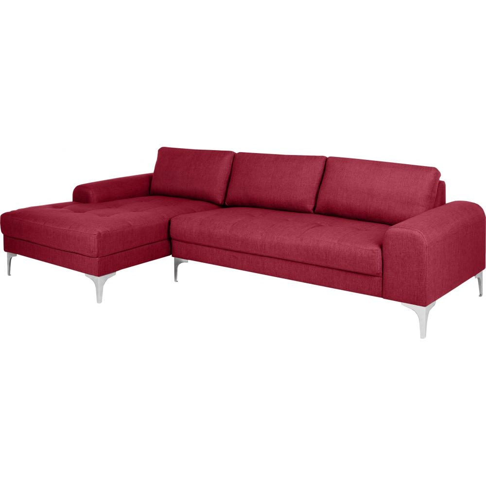 Canap Italien Angle Gauche Tissu Rouge