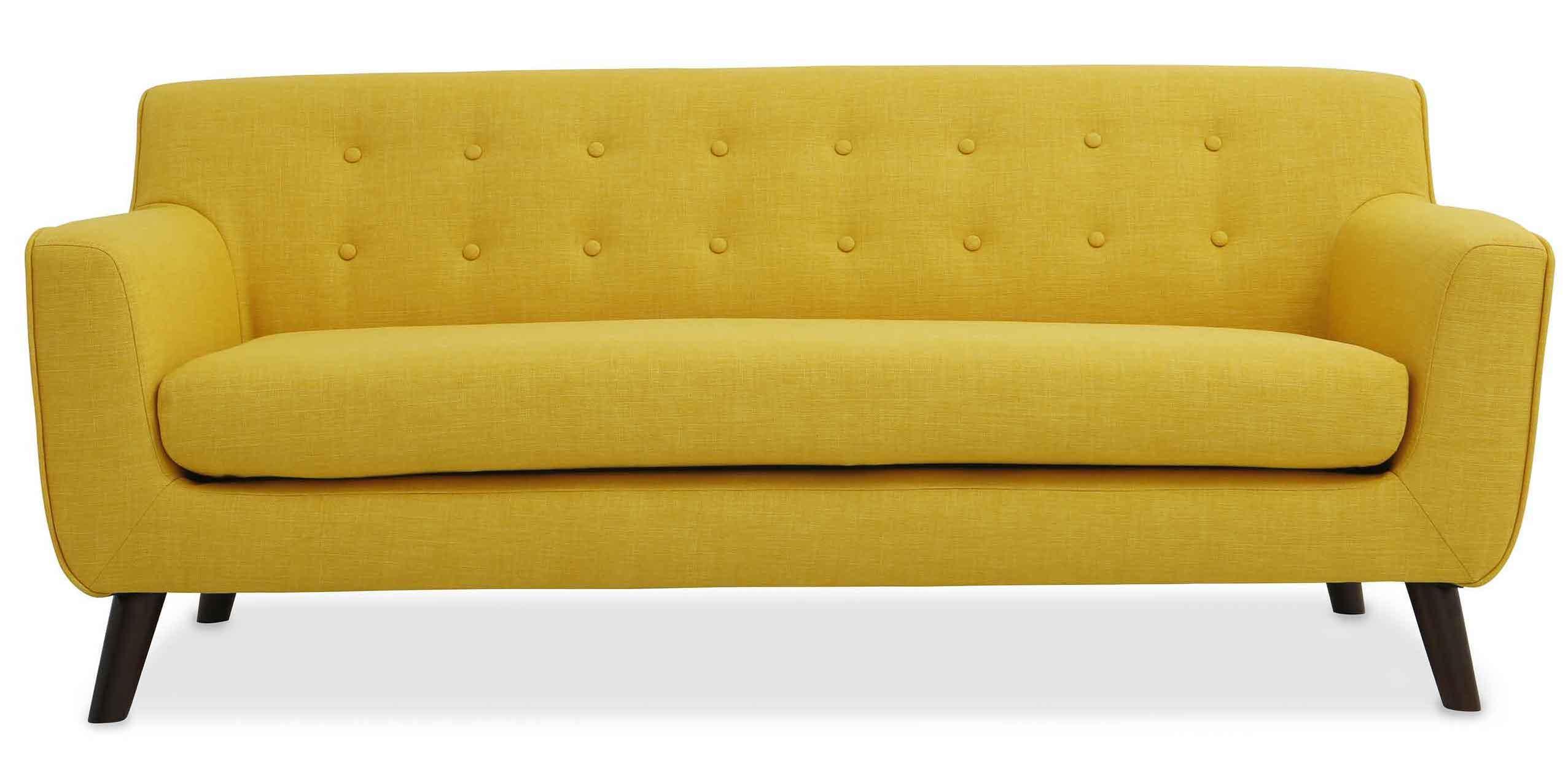 canap jaune capitonn 2 places katy. Black Bedroom Furniture Sets. Home Design Ideas