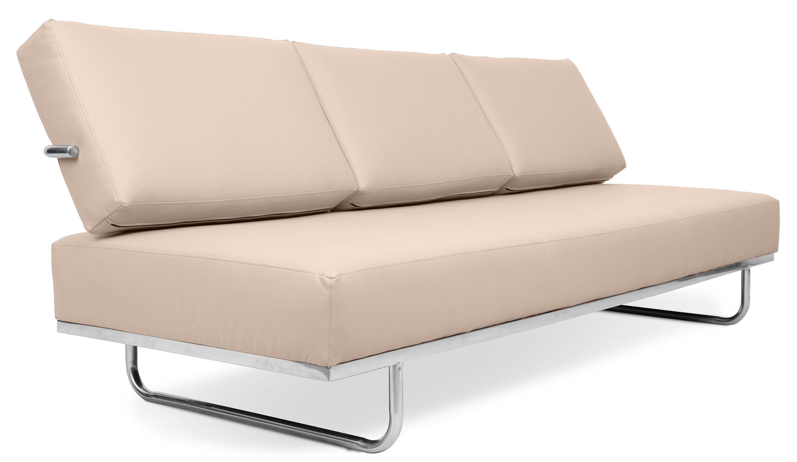 canap lit 3 places cuir ivoire carter. Black Bedroom Furniture Sets. Home Design Ideas