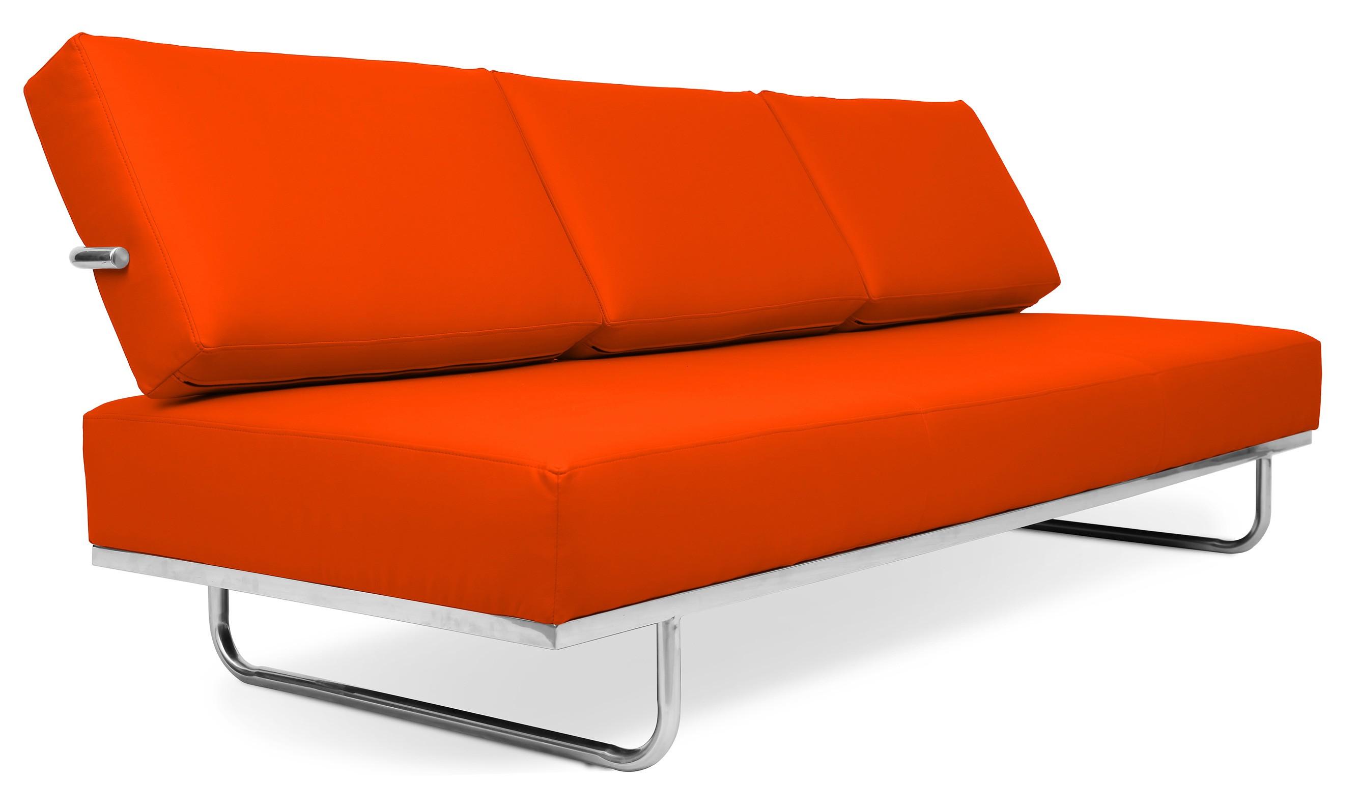 Canap lit 3 places cuir orange carter - Canape lit tres confortable ...