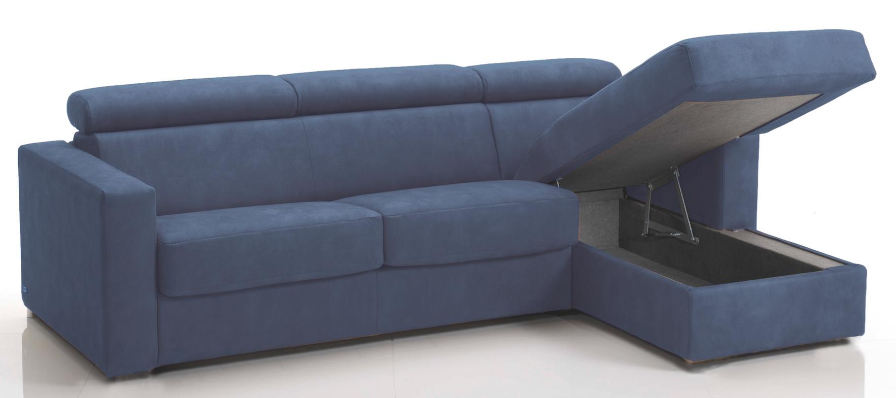 Canapé d\'angle convertible avec têtières Revêtement Microfibre Bleu ...