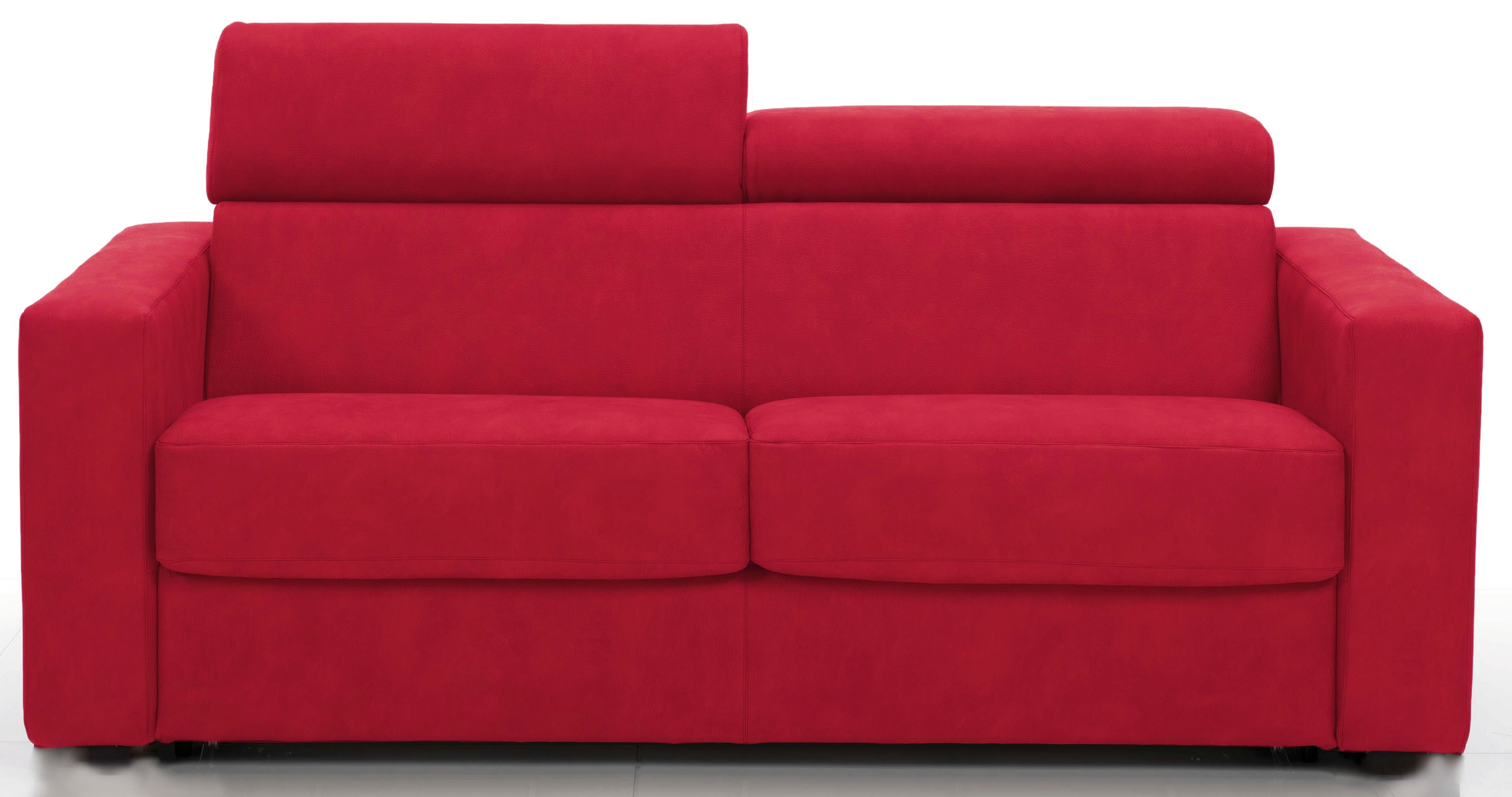 Canap fixe avec t ti res rev tement microfibre rouge lova for Canape rouge