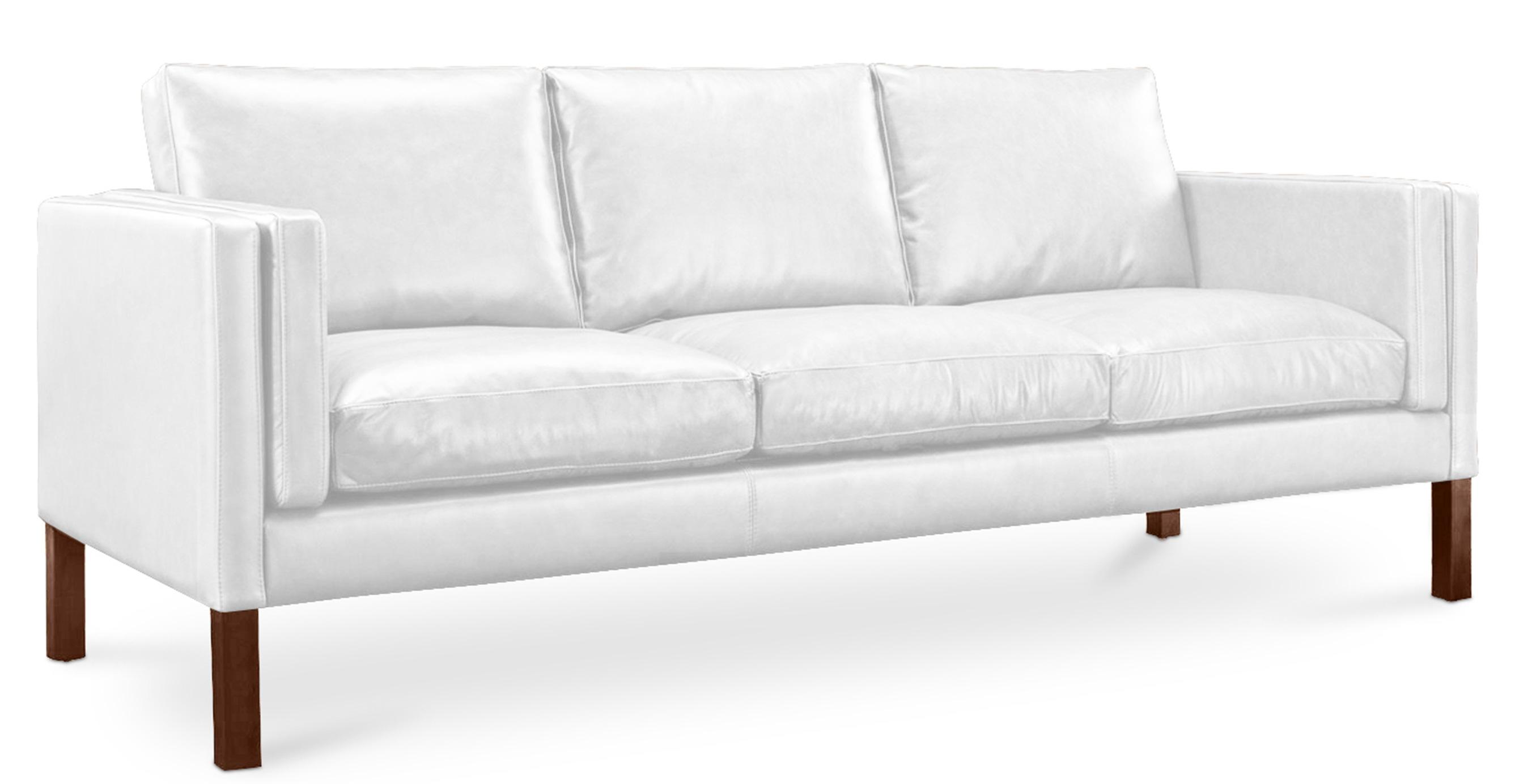 canapé 3 places moderne cuir blanc lower   lestendances.fr