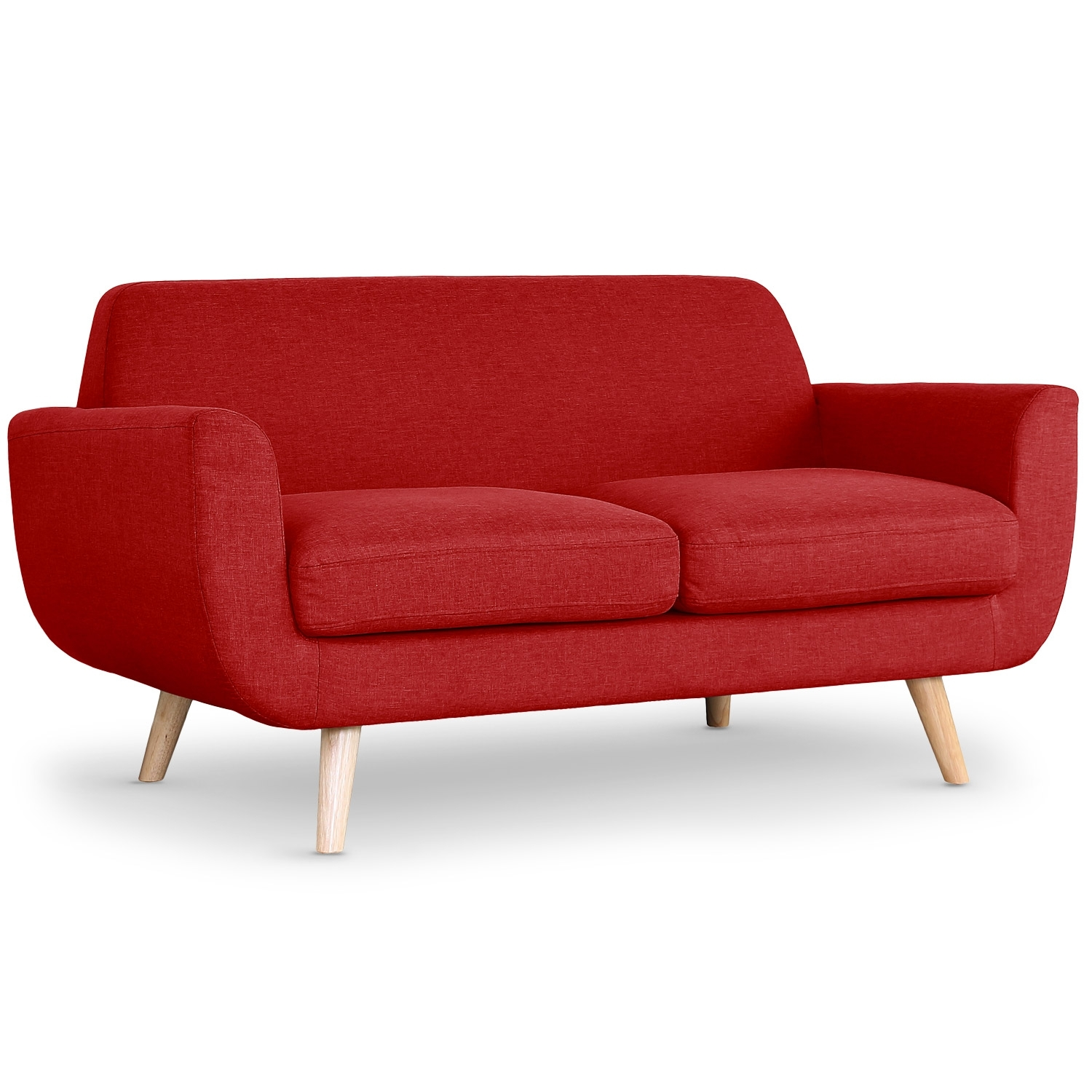 Canap scandinave 2 places tissu rouge for Canape 2 places rouge