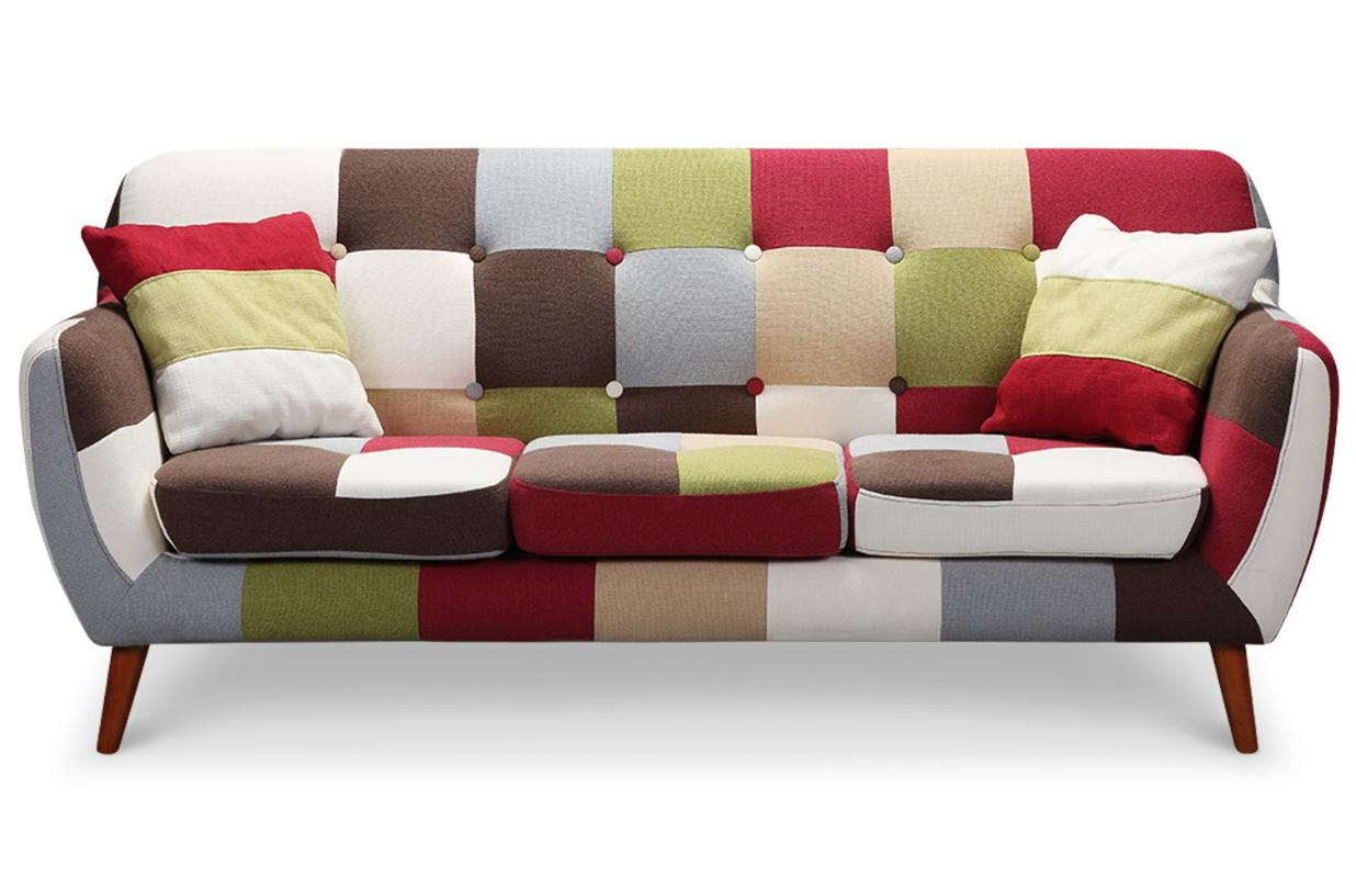 canap 3 places patchwork multicolore. Black Bedroom Furniture Sets. Home Design Ideas