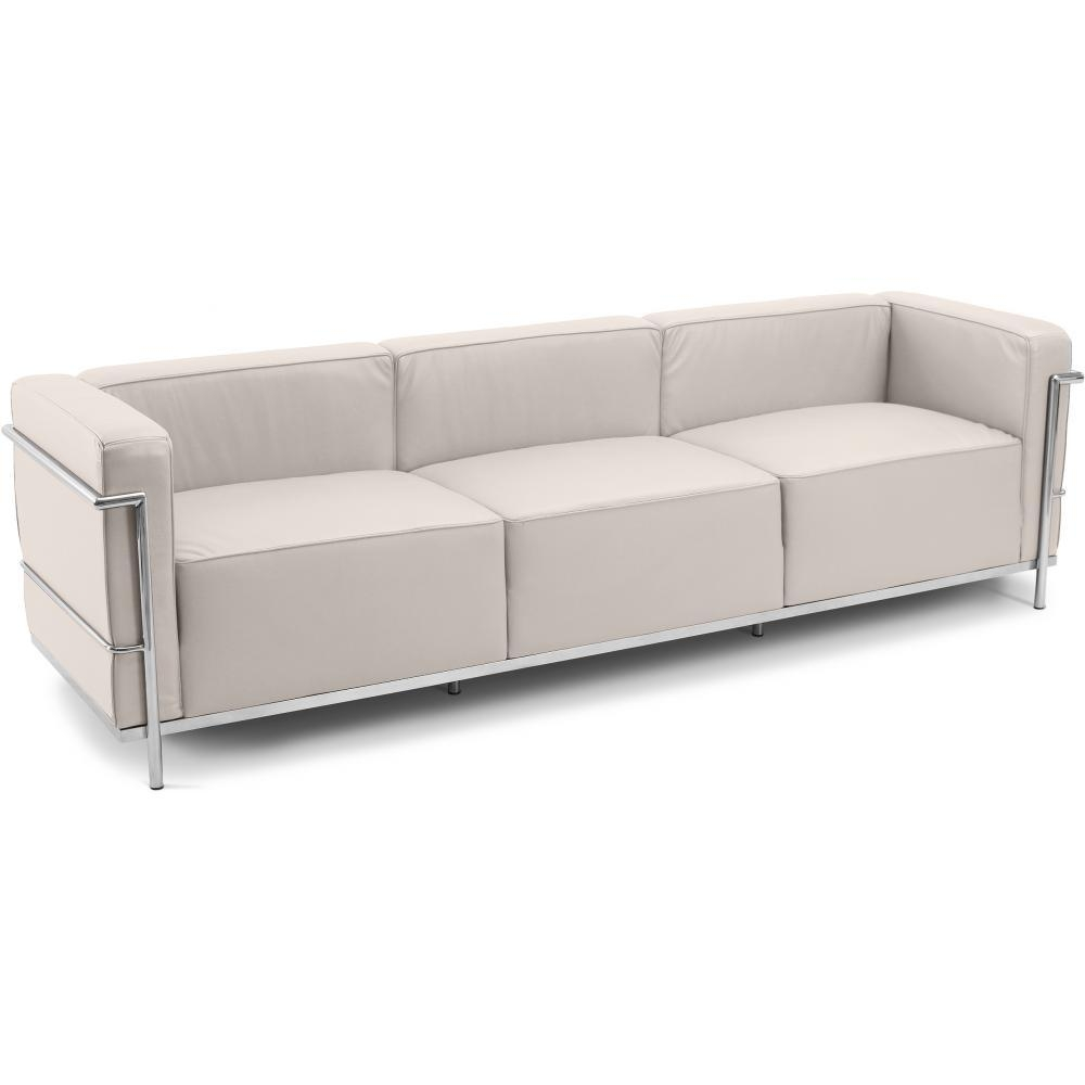 canap simili beige 4 places moderne inspir lc3 le corbusier. Black Bedroom Furniture Sets. Home Design Ideas