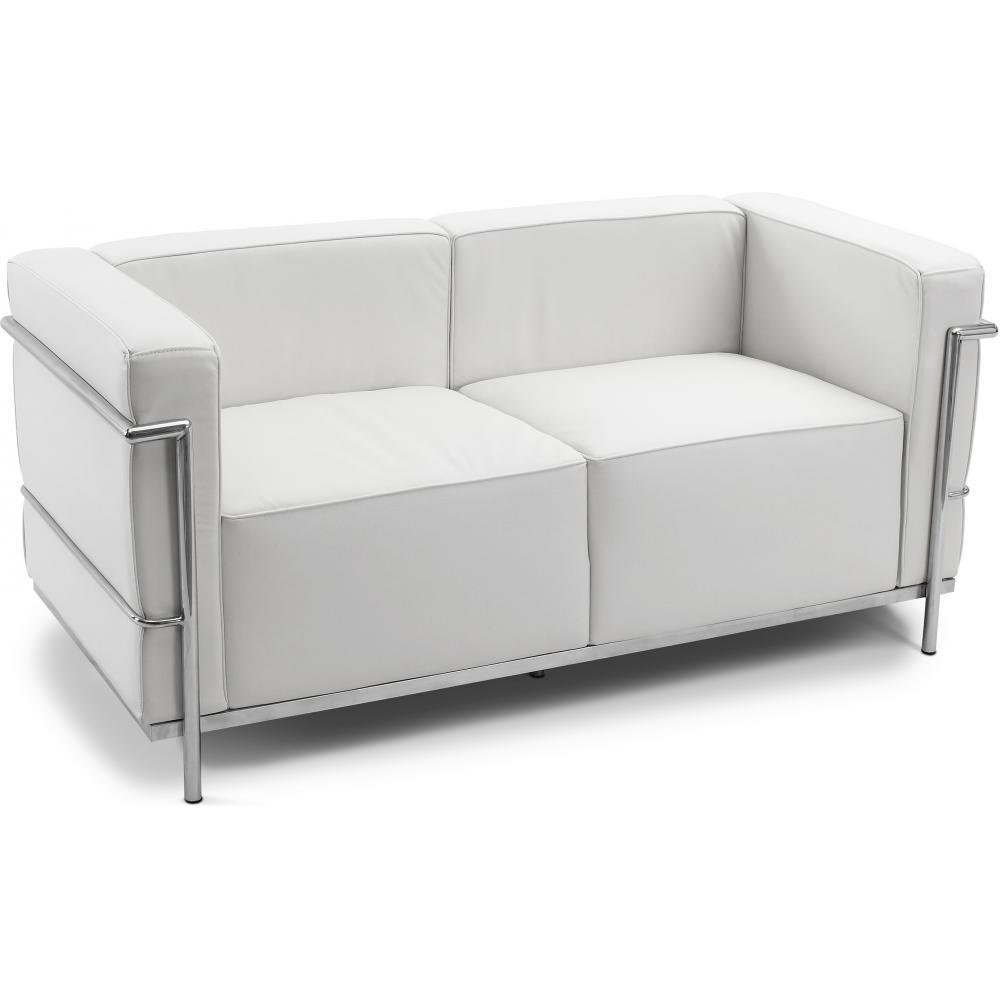 Canap simili blanc 2 places inspir lc3 le corbusier - Canape cuir le corbusier ...
