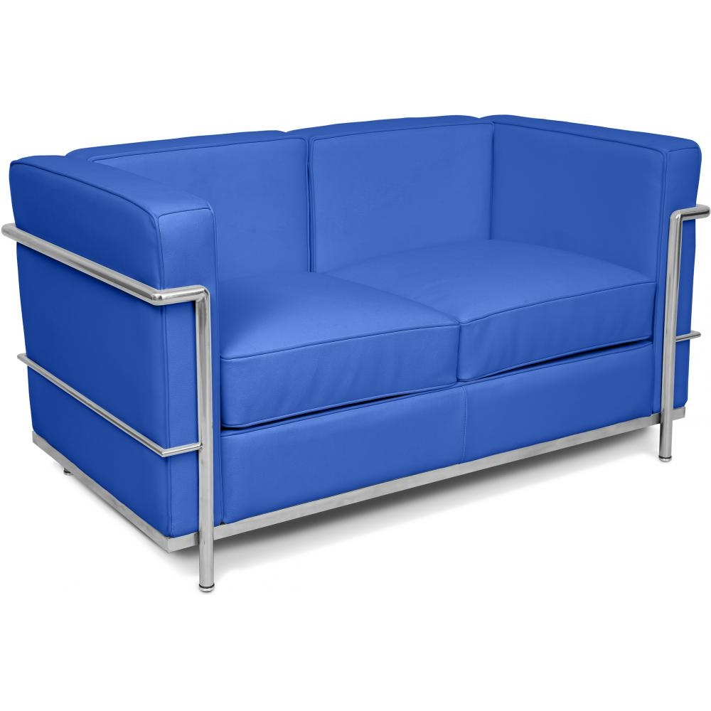 Canap simili bleu 2 places inspir lc2 - Canape 2 places simili cuir ...