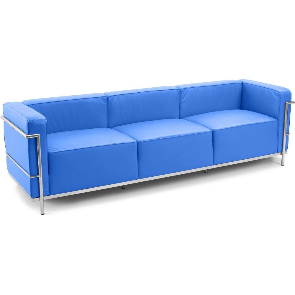 canap simili bleu clair 3 places inspir lc3 le corbusier. Black Bedroom Furniture Sets. Home Design Ideas