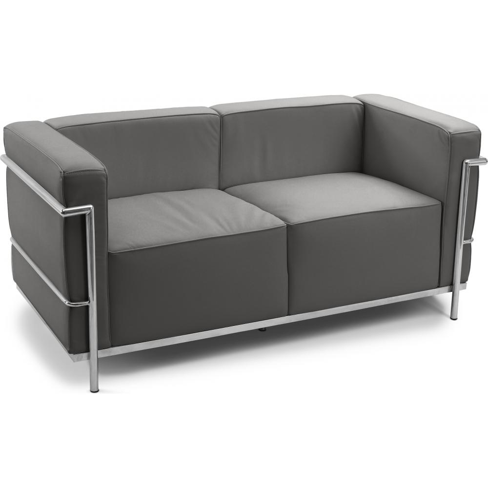 Canap simili gris 2 places moderne inspir lc3 le for Canape 2 places gris