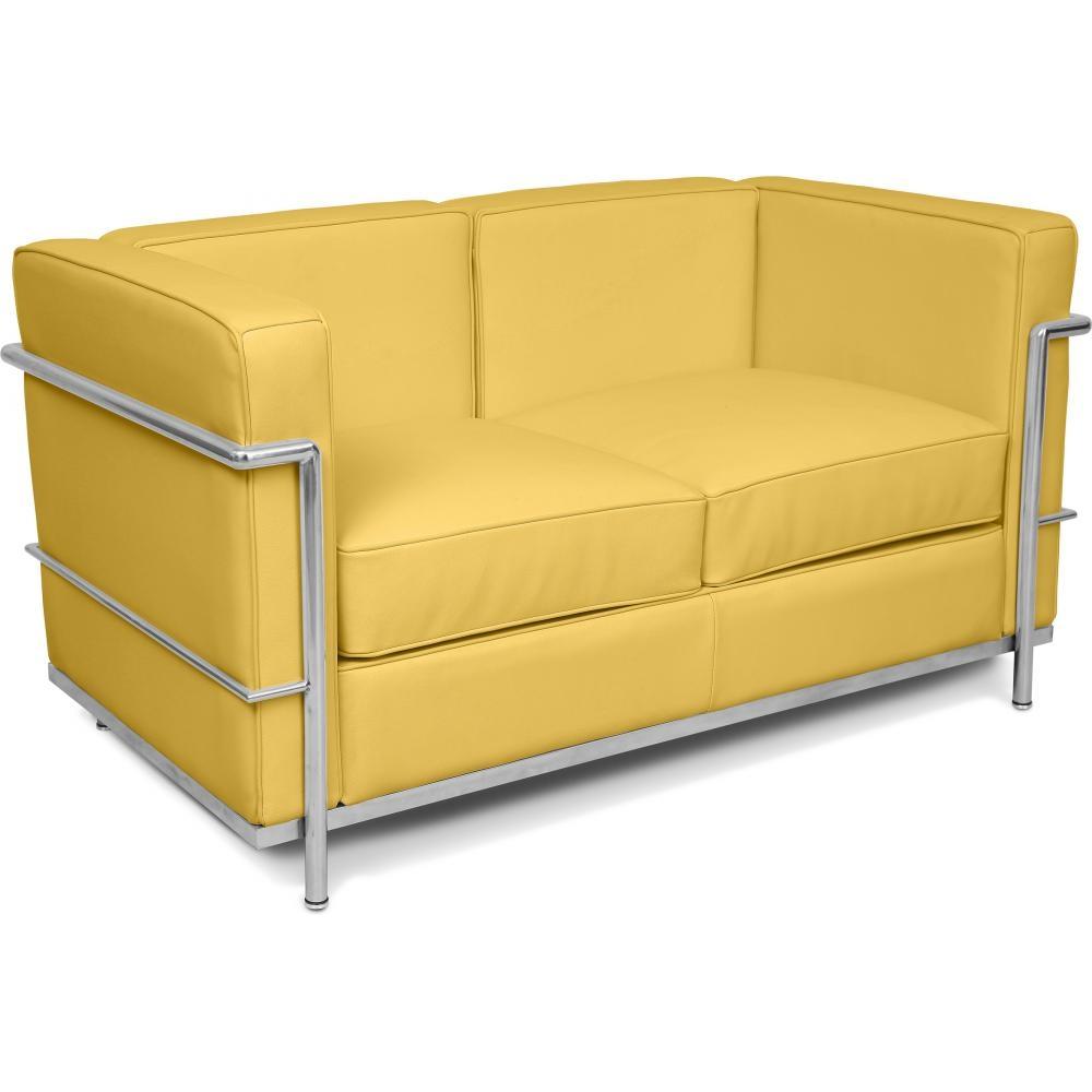 canap simili jaune 2 places inspir lc2. Black Bedroom Furniture Sets. Home Design Ideas