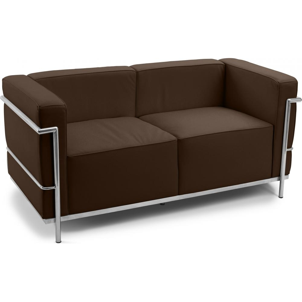 Canap simili marron 2 places moderne inspir lc3 le corbusier - Canape simili cuir marron ...