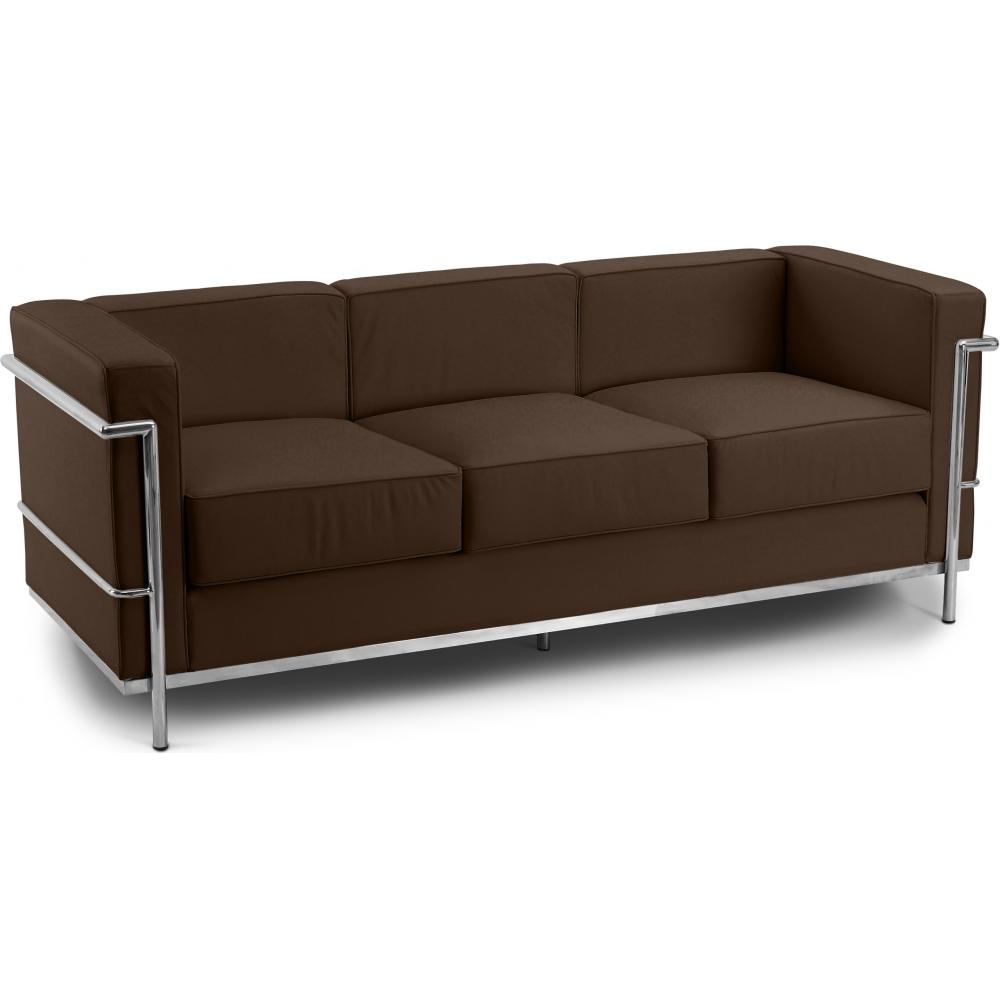 Canap simili marron 3 places inspir lc2 for Canape simili cuir marron