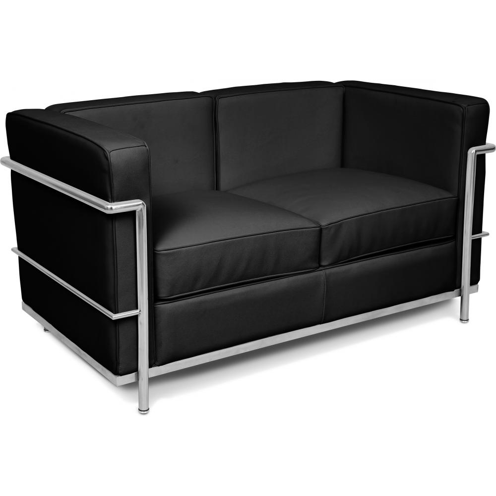 canap 2 places simili noir inspir lc2 le corbusier. Black Bedroom Furniture Sets. Home Design Ideas