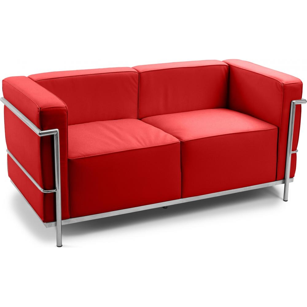 Canap simili rouge 2 places moderne inspir lc3 le for Canape 2 places rouge
