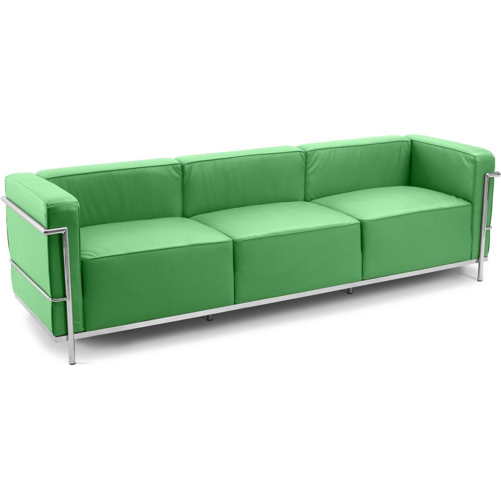Canap simili vert 4 places moderne inspir lc3 le for Les pachas du canape vert