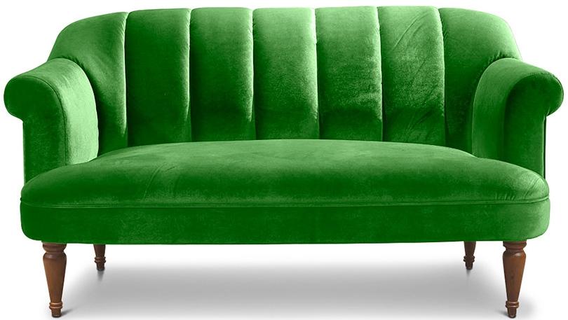 Canap vintage 3 places velours vert louis xv - Canape velours vert ...