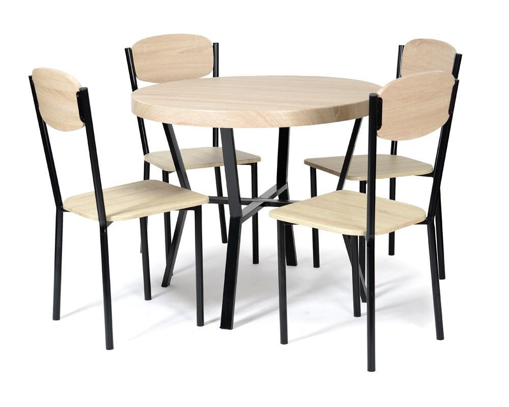 ensemble table et 4 chaises noir ch ne baka. Black Bedroom Furniture Sets. Home Design Ideas