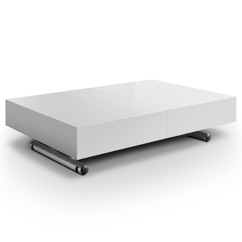 Table basse laqu e relevable rallonges casy - Table relevable rallonge ...