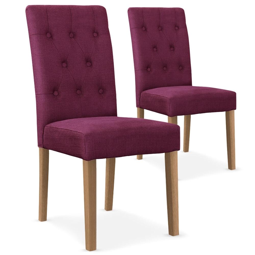 Chaise capitonn e tissu violet lani for Chaise capitonnee