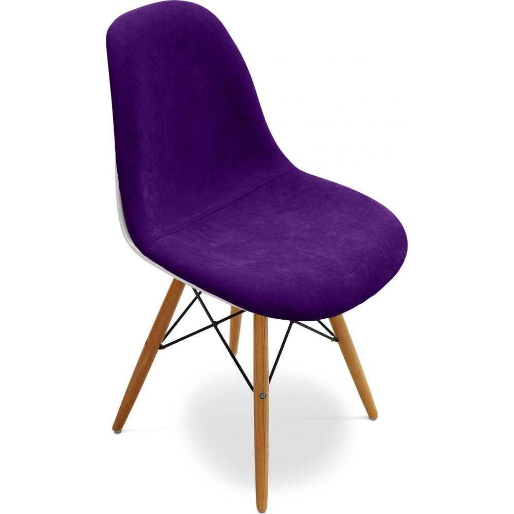 chaise fibre de verre blanc assise tissu violet inspir e dsw. Black Bedroom Furniture Sets. Home Design Ideas