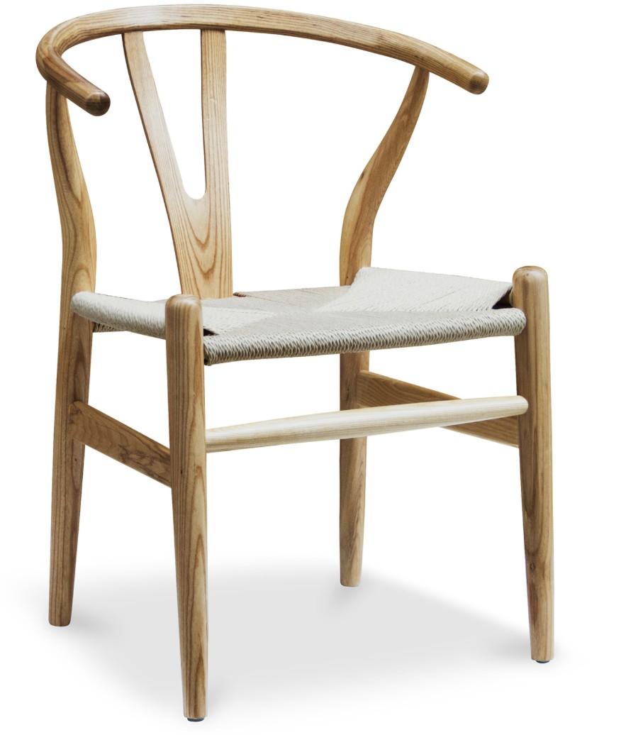 Chaise bois naturel et corde inspir e wishbone ch24 - Recouvrir une assise de chaise ...