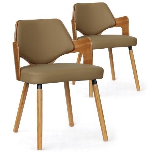 Chaise bois naturel et simili beige diva lot de 2 - Chaises scandinaves bois ...