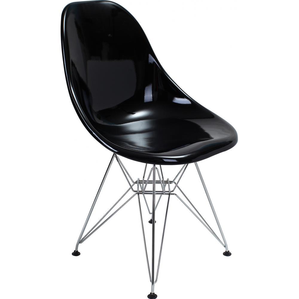 Chaise brillante noir inspir e dsr charles eames for Chaise sejour noir