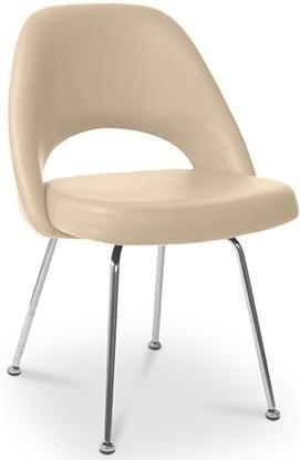 Chaise Cuir Taupe Side Inspir Eero Saarinen