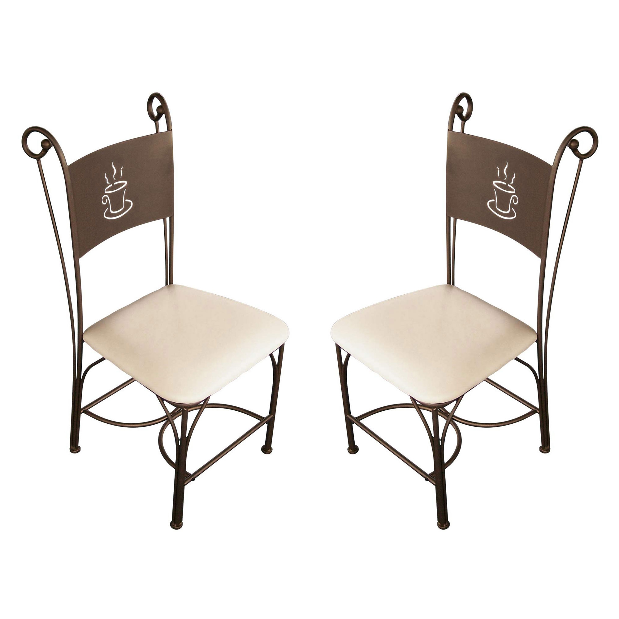 Chaise de cuisine en fer forg bronze coffee for Chaise table de cuisine