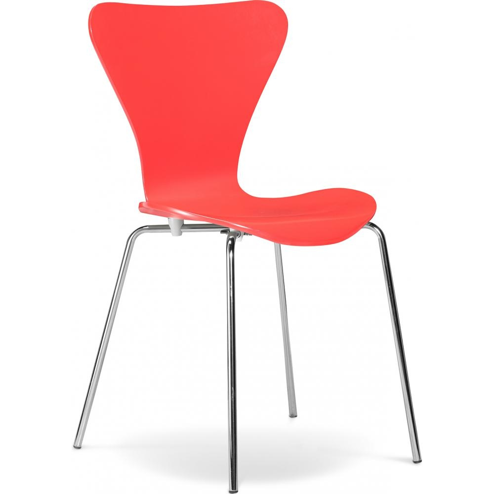 Chaise de cuisine rouge inspir arne jacobsen 3107 for Chaise cuisine rouge