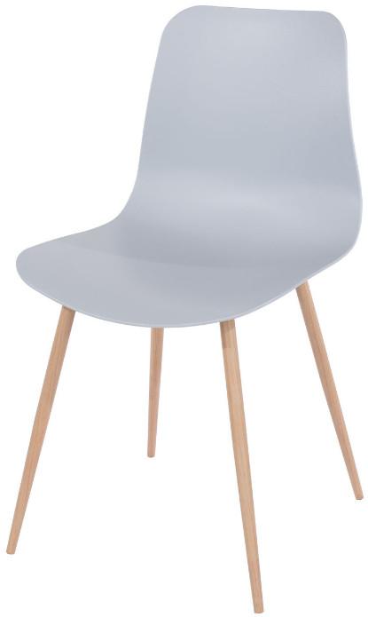 Chaise de salle à manger polypropylène gris et pieds métal