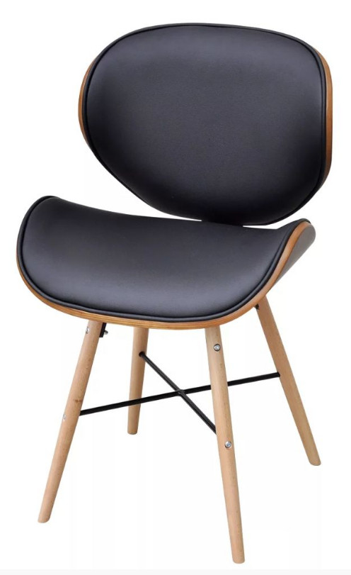 Chaise de salle manger simili cuir noir et pieds h tre - Chaise cuir noir salle manger ...