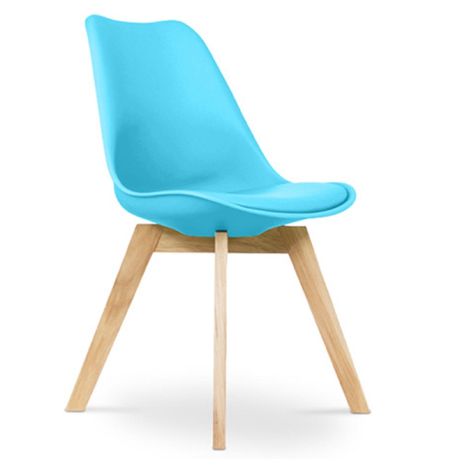 chaise scandinave avec coussin simili bleu inspir charles eames. Black Bedroom Furniture Sets. Home Design Ideas