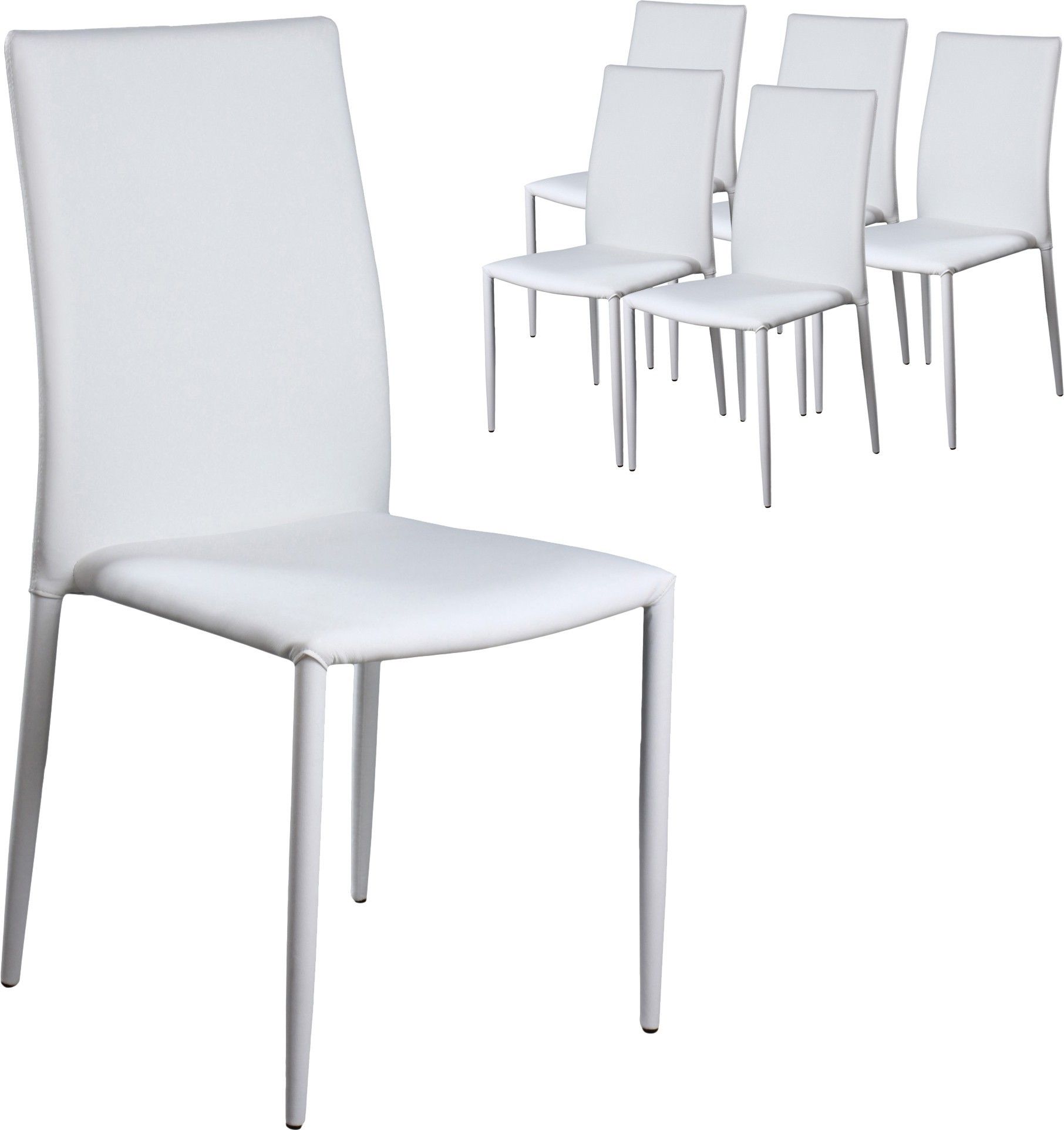 Chaise empilable simili blanche wuka for Chaise simili